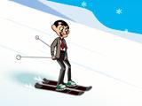 Мистер Бин на лыжах